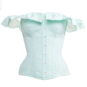 Tops - Overbust Corset top w/ off-shoulder ruffle sleeves